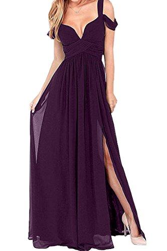Damen Exquisite Promkleid Chiffon Linie Traube A Schlitz Ivydressing Abendkleid Partykleid Festkleid aqZd6na