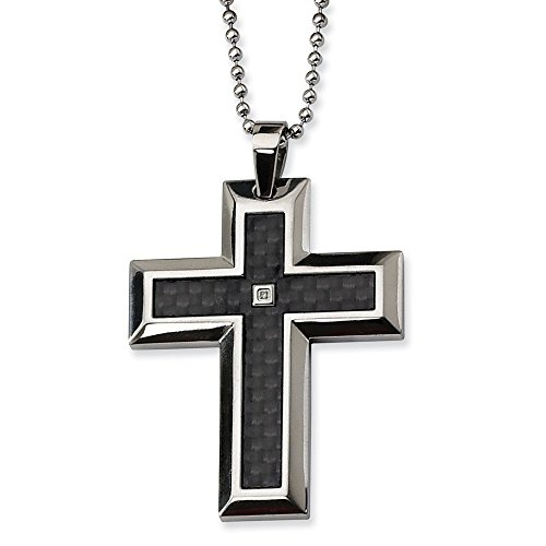 "Stainless Steel Blk Carbon Fiber Inlay .01ct. Diamond Accent Cross Necklace Chain 24"" (2mm)"