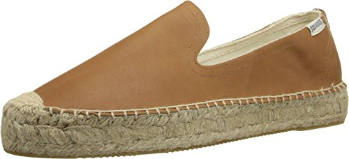 Soludos Women's Leather Platform Smoking Slipper, Tan, 7 B US -