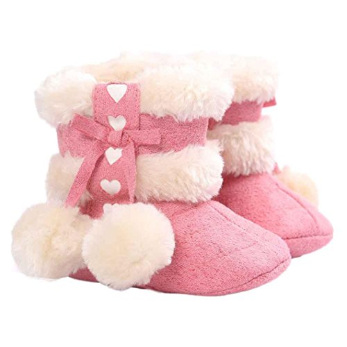 Baby Girls Boots (Voberry® Baby Toddler Girls Knit Soft Winter Warm Snow Boot Fur Trimmed Pom Pom Boots (12~18M, Watermelon Red))