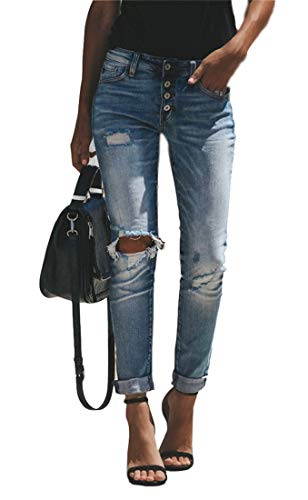 Women's Vintage Wash Distressed Ripped Button up Slim Fit High Waist Boyfriend Jeans Light Blue