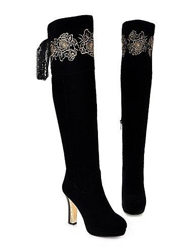 Casual De Cerrada Zapatos Botas us8 Tacón Trabajo Stiletto Y Eu39 Vestido Exterior Redonda Mujer ante Punta Xzz Black Cn39 Uk6 Oficina wq6p5dxf0q