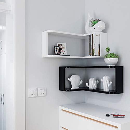 ディスプレイスタンド フローティング収納オーガナイザーウォールシェルフ収納ラック多機能コーナー壁掛け本収納装飾フレーム(カラー:ブラック、ホワイト) QTKGG (Color : Black)