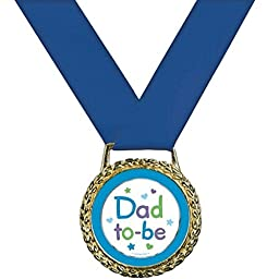 Amscan Delightful Dad To Be Medal of Distinction Baby Shower Party Novelty Favors, 2\