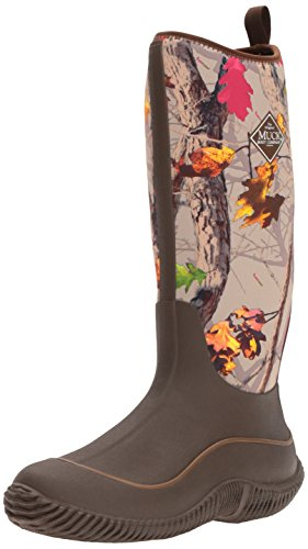 Brown Rain Boots Rubber (Muck Boots Hale Multi-Season Women's Rubber Boot, Brown/Hot Leaf Camo, 8 M US)