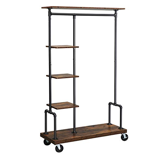 SONGMICS Clothes Rack, Clothing Rack on Wheels, 5-Tier Garment Rack with Metal Pipes, Rustic Brown UHSR66BX