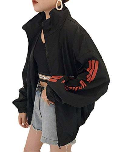 Schwarz Donna Stampato Primaverile Leggero Tempo Haidean Sportivi Ragazze Autunno Giacca Libero Glamorous Elegante Semplice Digitale Coat Sportivo Maniche Relaxed Giubbino Zip Outwear Lunghe wASBBq5x