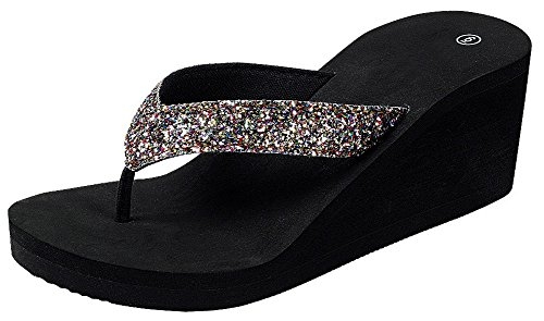 Cambridge Select Dames Open Teen String Glitter Instap Platform Wedge Flip-flop Sandaal Multi