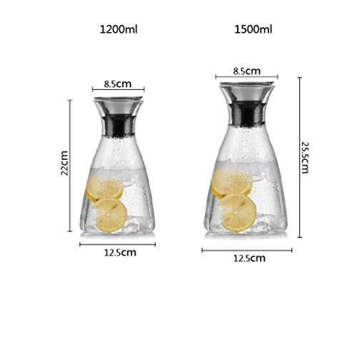 SCJ Five Colors Optional,Cold Kettle, Thick Glass, High Temperature Resistance, Large Capacity, High Temperature Resistance (Capacity : 1.5L, Color : Blue)