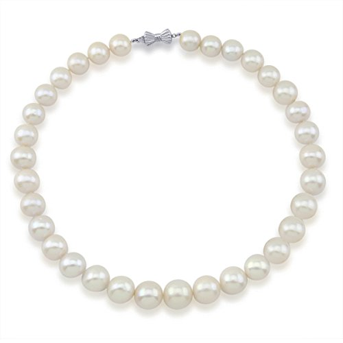 14K White Gold 11-15mm White Freshwater Cultured Pearl Necklace 17 Inches Queen Style by Akwaya