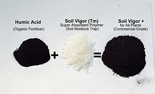 Commercial- Grade: 40 Lbs Soil Vigor (Tm) Super Absorbent Polymer, Soil Moisture Trap + Humic Acid (Organic Fertilizer) for All Plants, Trees, Shrubs, Vegetable, Flower Gardens, and Lawns of All Sizes. by Soil Vigor