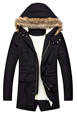 LILBETTER Men's Hooded Faux Fur Lined Warm Coats Outwear Winter Jackets (01 Black,Medium)