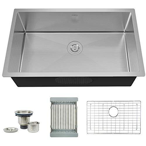 TORVA 30 Inch 16 Gauge Stainless Steel Undermount Kitchen Sink Single Bowl 10