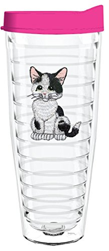 KITTEN BLACK WHITE 26oz Tritan Insulated Tumbler With Lid and Straw