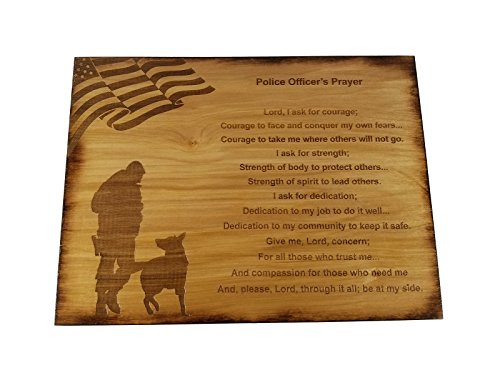 (Police Officer Prayer Wall decor with American Flag and Police K9 Silhouette - 8.5