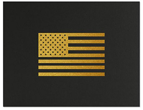 Successories 751557BK American Flag Linen Certificate Folders, Black