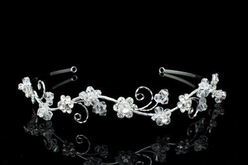 Delicate Wavy Rhinestones Crystal Flower Bridal Wedding Headband Tiara