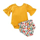 SMALLE◕‿◕ 2019 Summer Style Baby Girls Flare Romper Floral Print Shorts Outfits 2pc Set(3M-18M) Yellow