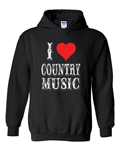 Blue Tees I Love Country Music Fan Fashion People Best Friend Gift Couples Gifts Unisex Hoodie Sweatshirt XX-Large Black