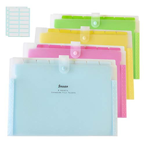 Expanding File Folder with 8 Pockets, Letter Size Accordion Paper Document Organizer with 28 Pcs File Folder Labels for School and Office, Pack of 4
