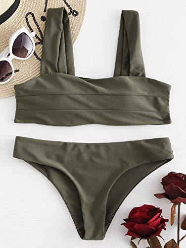 (ZAFUL Women's Wide Straps Padded Bandeau Bikini Set (L, Camouflage Green))