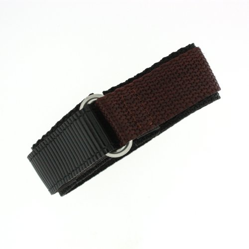 Watch Band Nylon One Piece Wrap Sport Strap Brown Adjustable Velcro 20 - Replacement Velcro