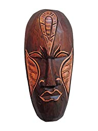 The Challenger of Self, African Tribal Wooden Mask, Hand Carved in Bali, 8 Inch