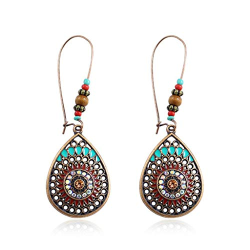 Clearance Sale!DEESEE(TM)Vintage Boho Style Metal Water Drop Shape Geometric Pattern Ladies Earrings Earrings ()