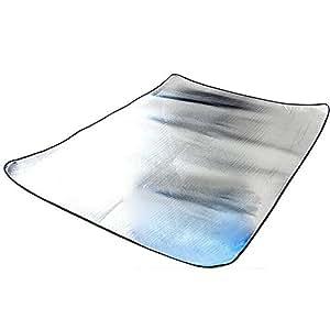 Ueasy ligera, plegable y doble cara cojín humedad Alfombra uesd (Papel de aluminio camping impermeable Pad tienda de campaña Felpudo (Thicken Pad con bolsa portátil 59* 78Pulgadas Talla:59*78 inch(1.5m*2.0m*2.5mm)
