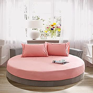 OSY sólido algodón redondo sábana bajera ajustable de dos metros de diámetro (1 colcha y 2 funda de almohada 48 cm * 72 cm) Matrimonio doble beige: ...