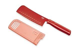 Kuhn Rikon Large Nakiri Knife Colori, 6-Inch Serrated Edge, Red