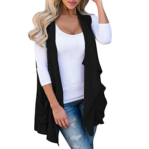 Sunhusing Women's Sleeveless Irregular Pleated Ruffles Pocket Cardigan Coat Jacket Vest