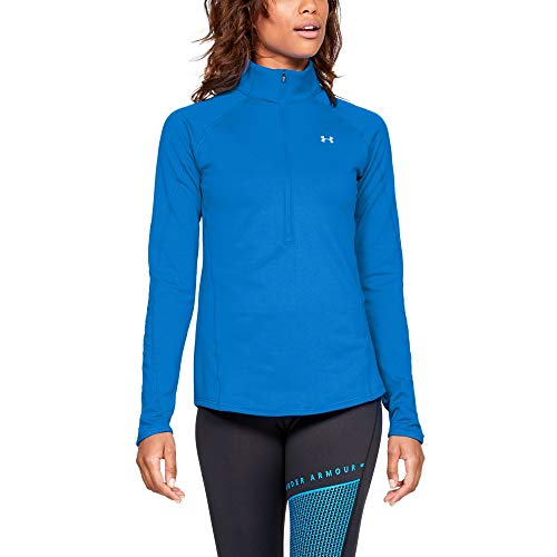 (Under Armour Women's Coldgear Armour 1/2 Zip, Blue Circuit (436)/Metallic Silver,)