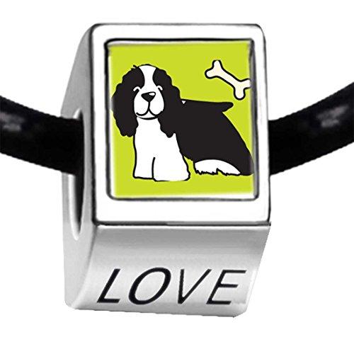 Spaniel Dog Photo Charm (Silver Plated Springer Spaniel Dog Photo LOVE Charm Bead Bracelets European)