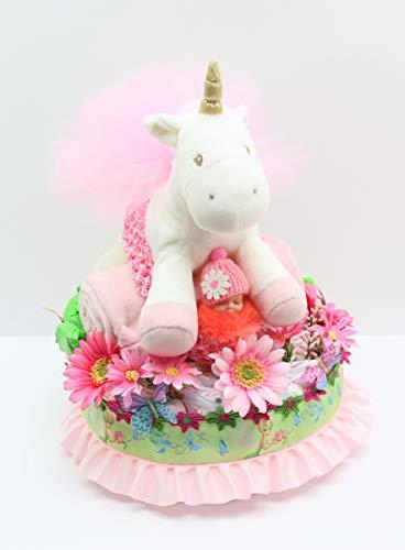 Baby Family Gifts Unicorn on Blanket Pink Daisy Flowers, Butterfly Hair Clips, Ballerina Tulle Puff Headband Baby Girl One Tier Fairy Diaper Cake (Mud Pie Cake Headband)