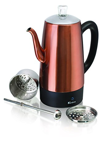 Euro Cuisine PER12 Electric Percolator 12 Cup Stainless Steel Coffee Pot Maker - Copper Finish