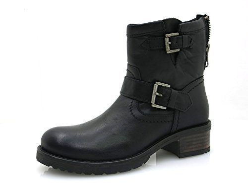 Black robust brandy Boots Short Leather Leather 30509 black shoes Boots Buffalo aOUTnHHv