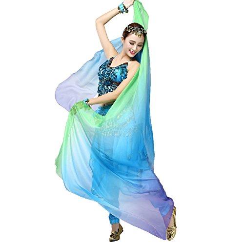 ROPALIA Womens Chiffon Belly Dance Shawl Veil Scarf Gradient Color 8747 inch