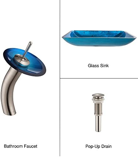 Kraus C-GVR-204-RE-10SN Irruption Blue Rectangular Glass Vessel Sink and Waterfall Faucet Satin Nickel