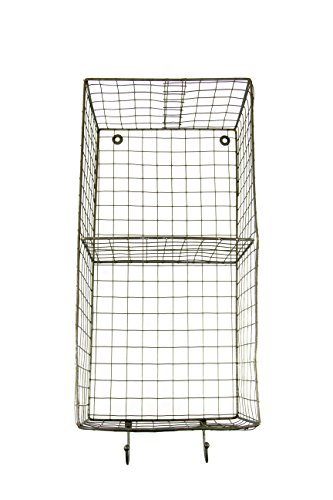 "Vertical Metal Wire Country Style Rectangle Hanging Rack Basket with Hooks - 20""H x 10""W x 7""Deep"
