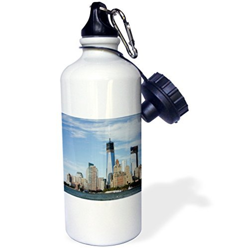 Moson Sports Water Bottle Gift for Kids Girl Boy, New York New York Manhattan City Skyline Including The Freedom Tower Stainless Steel Water Bottle for School Office Travel 21oz by Moson