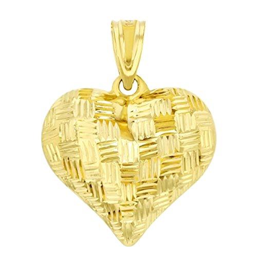 - 14K Yellow Gold 3D Textured Heart Charm Pendant