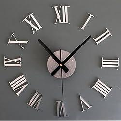 ASIBG Home Fashion Style Living Room 3D Roman Numeral Wall Clock Creative DIY Wall Sticker Wall Clock,16 Inch,Metallic Silver
