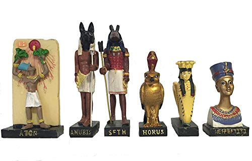 Egipto antiguo Egipto Dios 11 figurillas establecen tamaño de la estatua de resina 5 \ alto (Anty, Atoum, Anubis, Aton,...