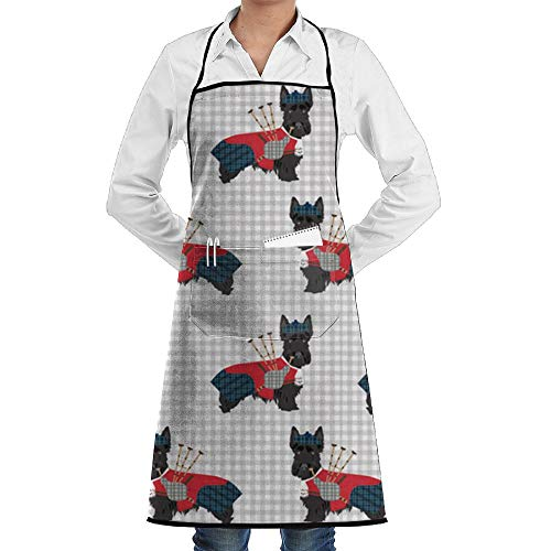 Scottie Dog With Bagpipes Bib Apron Waterdrop Resistant With Pockets Cooking Kitchen Aprons For Women Men Chef