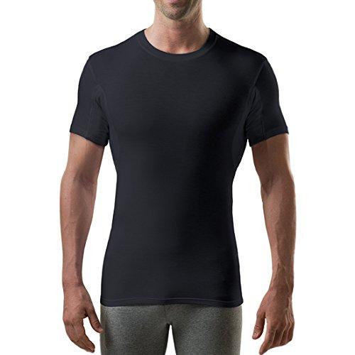 Sweatproof Undershirt for Men with Underarm Sweat Pads (Slim Fit, Crew -