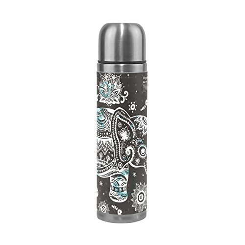 JSTEL Vintage Indian Lotus Ethnic Elephant African Stainless Steel Water Bottle Vacuum Insulated Thermos Leak Proof Vacuum Insulated Double-Walled Thermos Flask for Hot Coffee or Cold Tea + Drink Cup