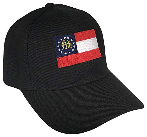 Georgia State Flag Adjustable Curved Bill Baseball Cap (One Size, ()
