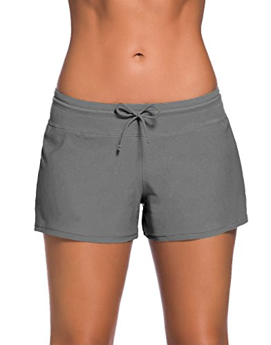PARICI Women's Side Split Waistband Swim Shorts with Panty Liner Plus Size S-3XL, Gray, US 12-14/L