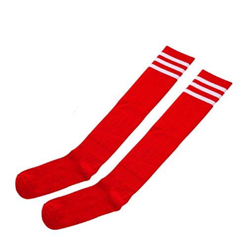 Sandistore 1 Pair Thigh High Socks Over Knee Girls Womens Cheerleader (Red)
